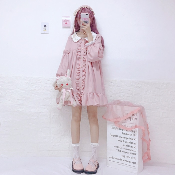 Japonés dulce nuevo kawaii temperamento suelto Lolita vestido Peter pan Collar manga larga Hada té fiesta vestido Cos Loli