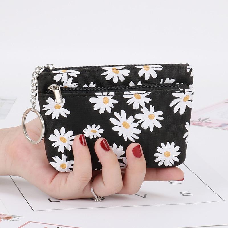 Coin Purse Daisy Flower Coin Purse Women Mini Wallets Clutch Money Bags Female Pouch Key Card Holder