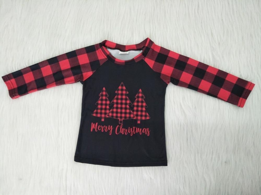 Venta al por mayor/al por menor árbol patrón bebé niños niñas Camiseta de manga larga a cuadros Feliz navidad niños boutique niños ropa top gxj