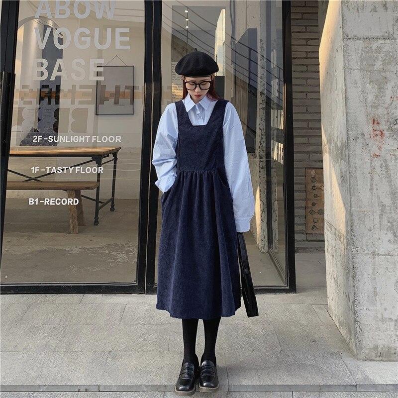 2020 Female Korean Kawaii Cute Retro Loose Corduroy Loose Dress Women's Dresses Japanese Harajuku Ulzzang Clothing For Women