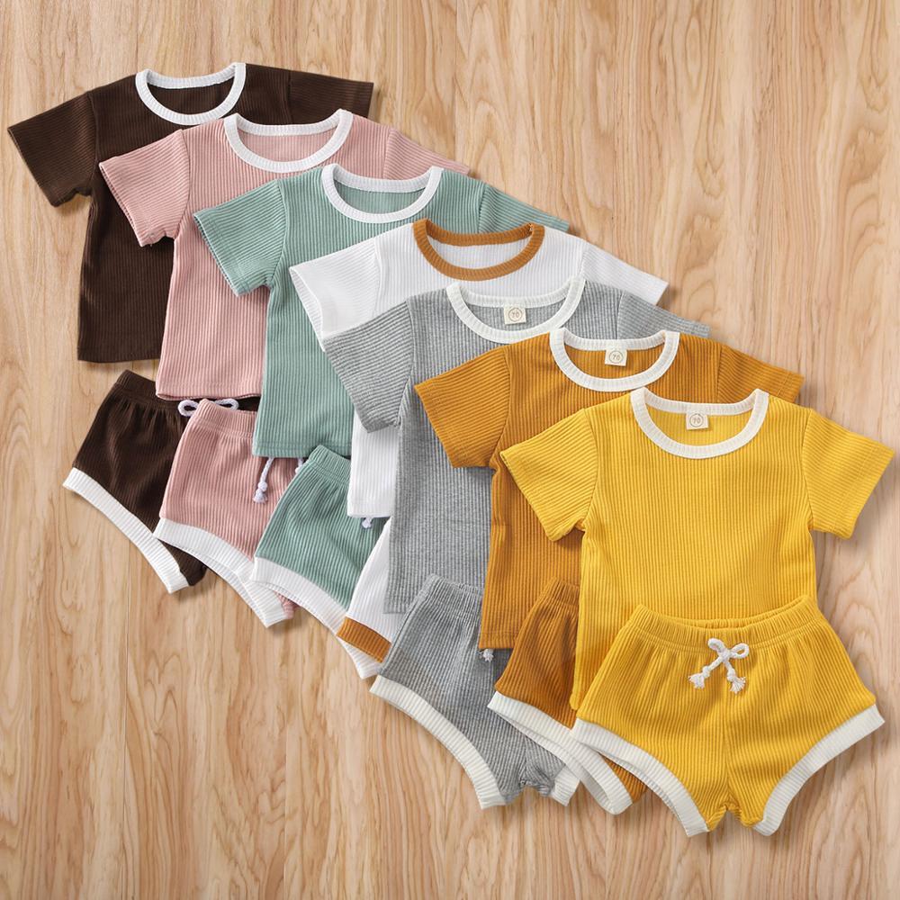 2020 New Baby Boys Girls Summer Clothing Newborn Kids Baby Girls Ribbed Knitted Short Sleeve T-shirts+Shorts Tracksuits Sets