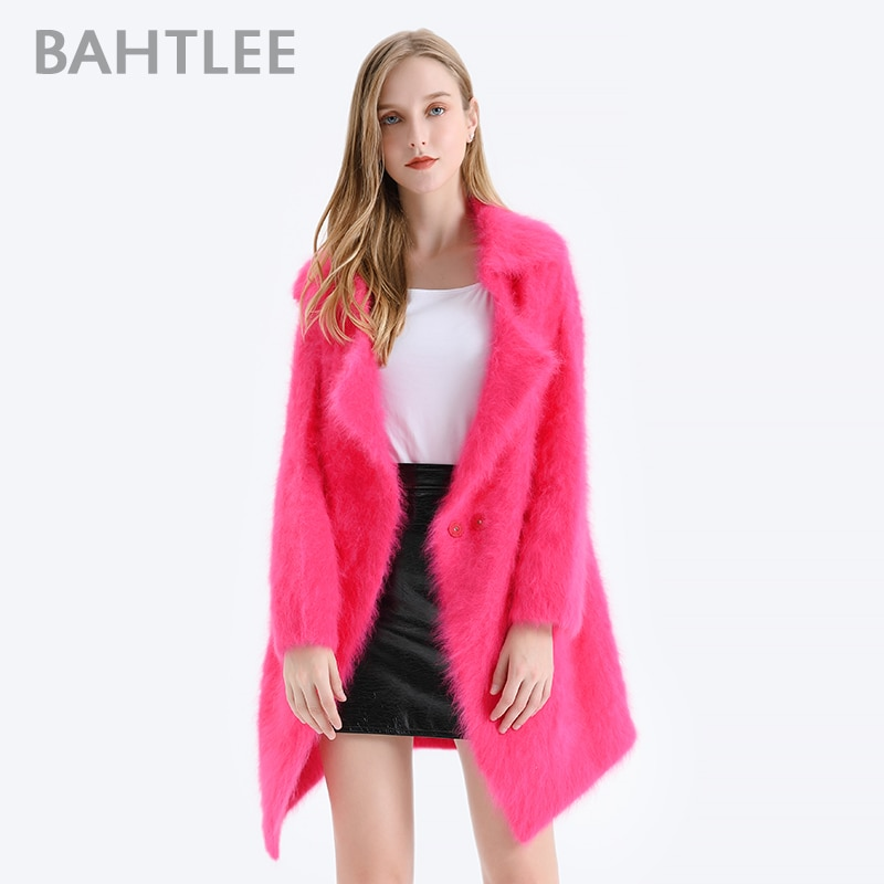BAHTLEE Winter Women  Angora Coat Knitted Cardigans With Pocket Sweater Wool Jumper Long Sleeves Turn Down Collar enlarge