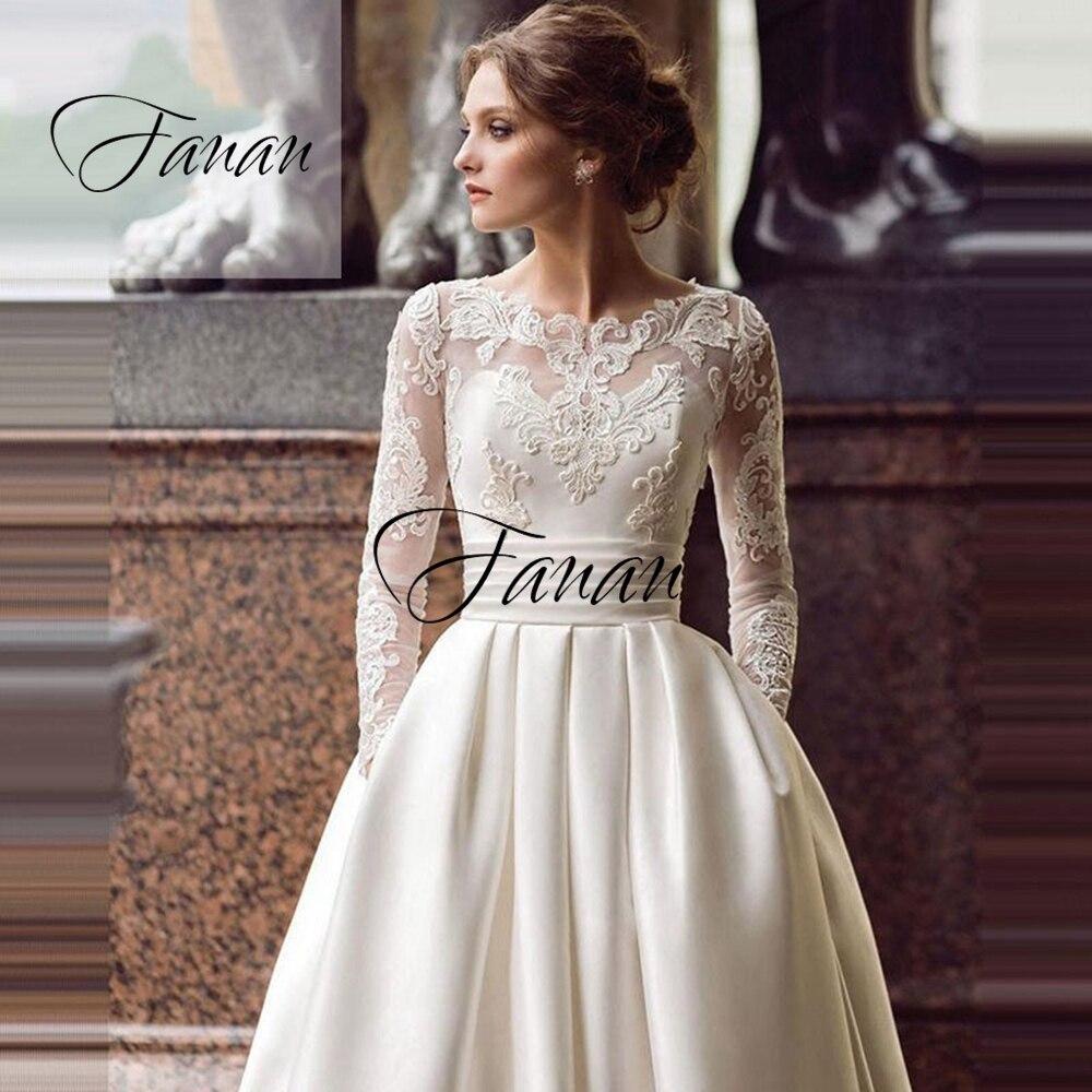 Scoop Neck Long Lace Appliques Wedding Dress A-Line Pockets Floor Length Elegant Bridal Gown robe de soirée de mariage платье