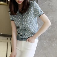 short sleeved knitted blouse womens summer slim v neck single breasted printed thin hollow cardigan