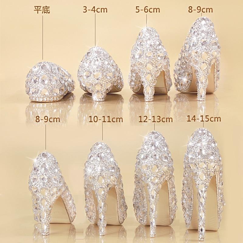 حذاء من الكريستال أحذية الزفاف فستان الزفاف المرأة منصة مسطحة عالية الكعب الماس الأميرة أحذية كعب رقيقة سندريلا كبير
