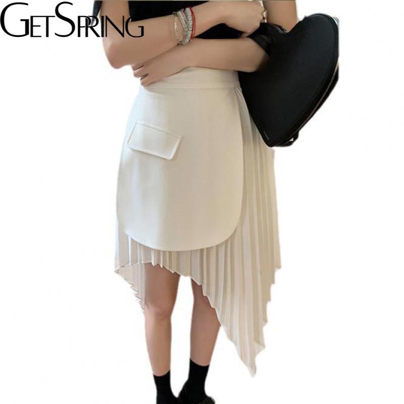 Getspring النساء تنورة عدم التماثل خليط مطوي التنانير غير النظامية حجم كبير أسود أزرق أبيض تنورة عالية الخصر للنساء 2021