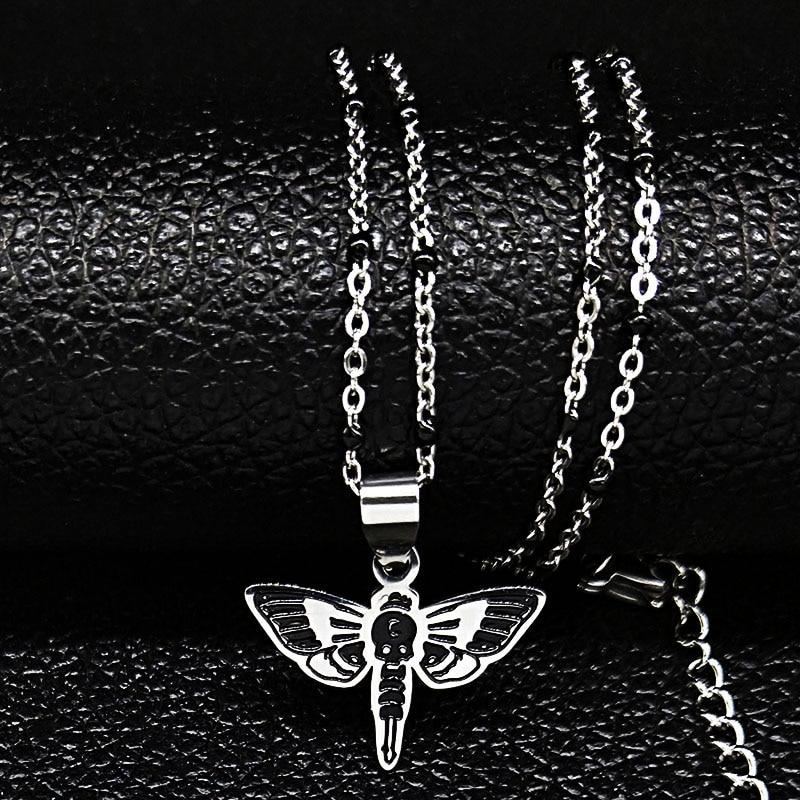 2021 mode Schädel Bee Edelstahl Schwarz Emaille Kette Halskette Männer/Frauen Halsketten & Anhänger Schmuck colgantes N1865S02