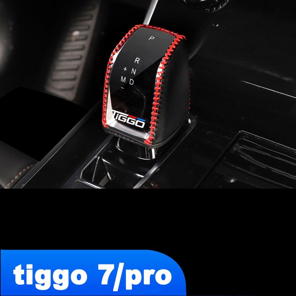 Lsrtw2017 Fiber Leather Car Gear Shift Knob Cover for Chery Tiggo 7 Pro 2020 2021 Tiggo7 Accessories Lever Head Mat Trims lsrtw2017 fiber leather car gear shift knob cover for chery tiggo 7 pro 2020 2021 tiggo7 accessories lever head mat trims