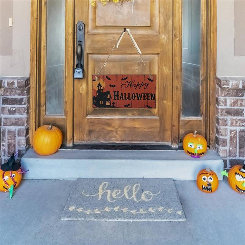Letrero de madera para puerta de Halloween, letreros colgantes de calabaza, colgador...