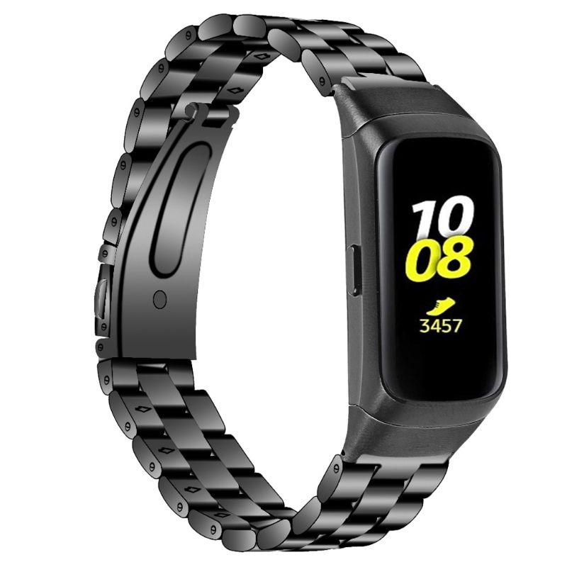Pulsera de Metal de acero inoxidable adecuada para Samsung Galaxy Fit SM-R370 tres cuentas correa de reloj