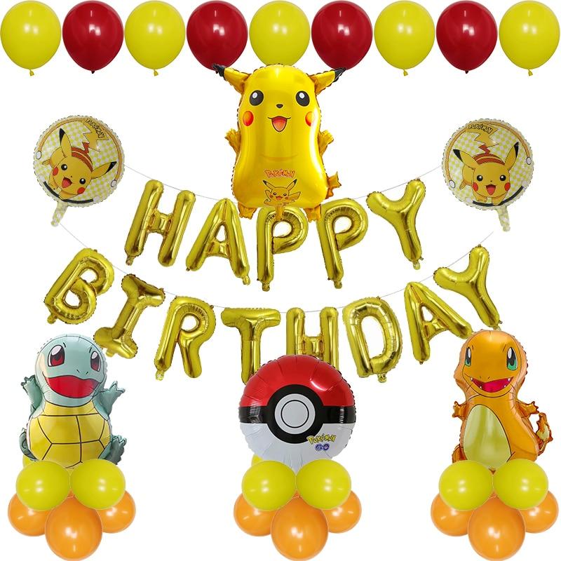 1 Juego de Globos de papel de tortuga Pikachu Pokemon, Globos de papel de tortuga, Carta Dorada, decoración de fiesta de cumpleaños, dibujos animados, Pokemon, Go, juguetes para niños Globos