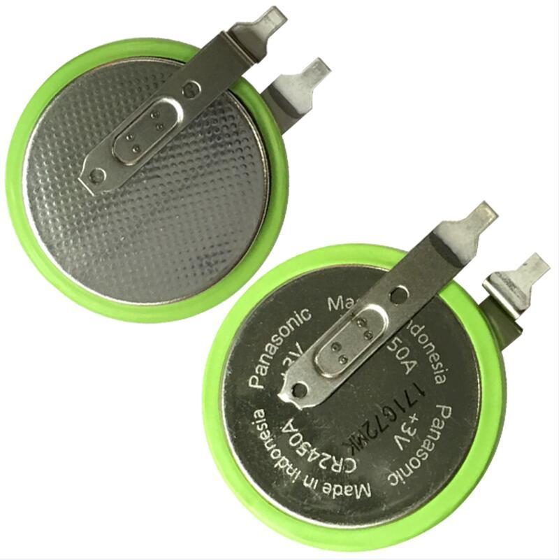 20 unids/lote Panasonic CR2450A 3V baterías de alta temperatura Célula de batería de botón de presión de neumáticos con pies de soldadura CR2450HR