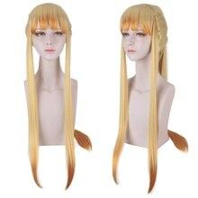 80Cm Length Yellow&Orange Color Cosplay Wig Anime Demon SlayerKimetsu no Yaiba Agatsuma Zenitsu Wig Long Hair Ponytail Style