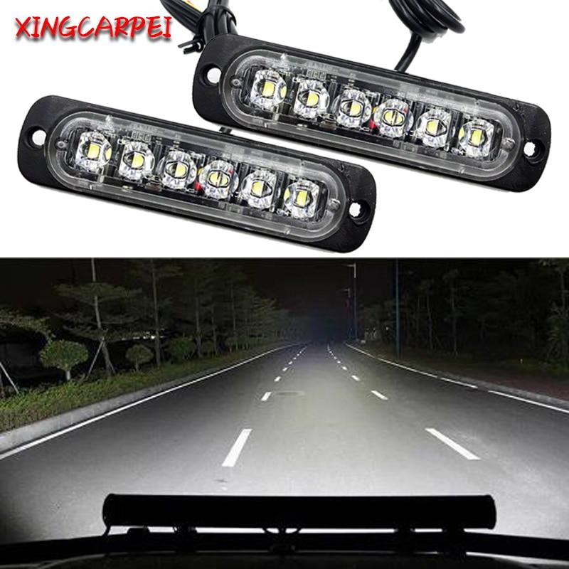 2 stücke 12-24V 6 LED Arbeit Bar Lampe Weiß Auto Lkw Motorrad Notfall Beacon Warnung Gefahr Flash strobe Unterboden Drehen Licht Bar