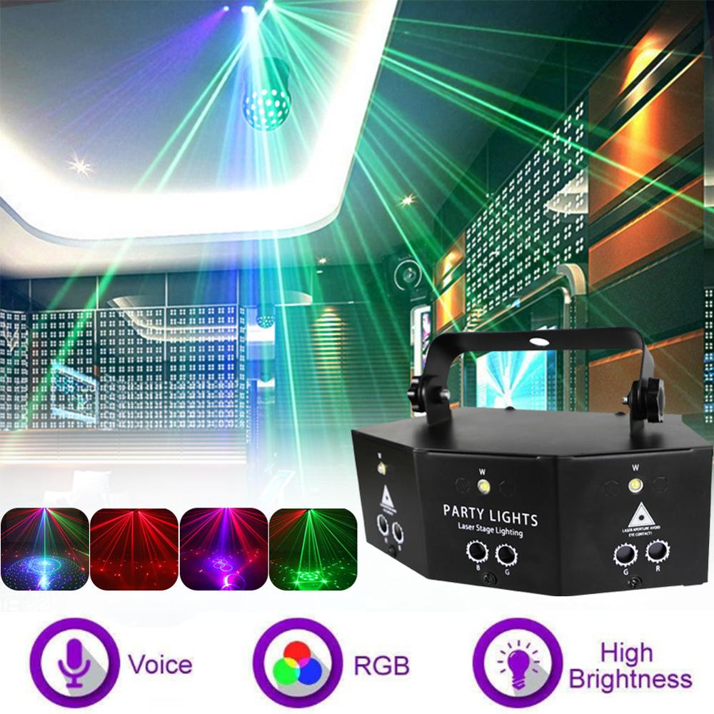 led disco light 18w dmx 512 dj rgb led party lights sound actived remote control disco lamp color changing stage lamp wedding Party Lights 9-eye RGB Disco Lamp DMX Remote Control Stage Strobe Light Dj Led Light for Christmas Dance Parties Birthday Bar