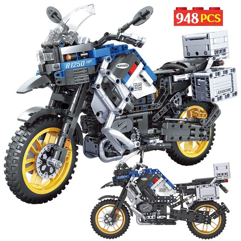 التقنية دراجة نارية سيارة MOC نموذج اللبنات مدينة سرعة سباق السيارات دراجة نارية مركبة الطوب لعب للأطفال الأولاد