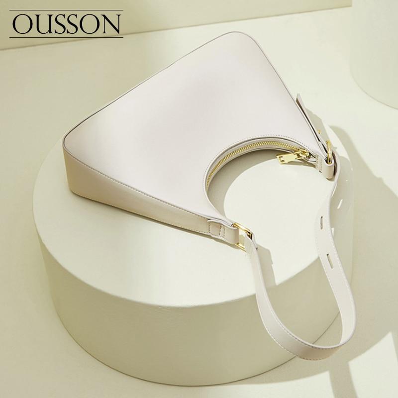 OUSSON موضة رائعة المرأة واحدة الكتف حقيبة جلدية تحت الإبط النمط الفرنسي حقيبة يد مربعة صغيرة