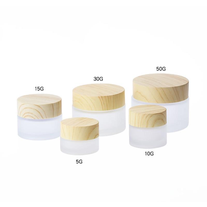Günstige Preis 5g 10g 15g 30g 50g 100g Matt Klar Leere Kosmetische Gläser Make-Up creme Gesicht Nachfüllbare Behälter Mit Bambus Kappe