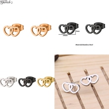 Hfarich Fashion Personality Sweet Heart Ear Lover's Party Accessory Ear Steel Color Stainless Steel