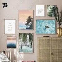 Affiches et imprimes de paysage nordique  Art mural  coucher de soleil  ocean  feuilles de palmier  toile  peinture murale  pour salon  decoration de maison
