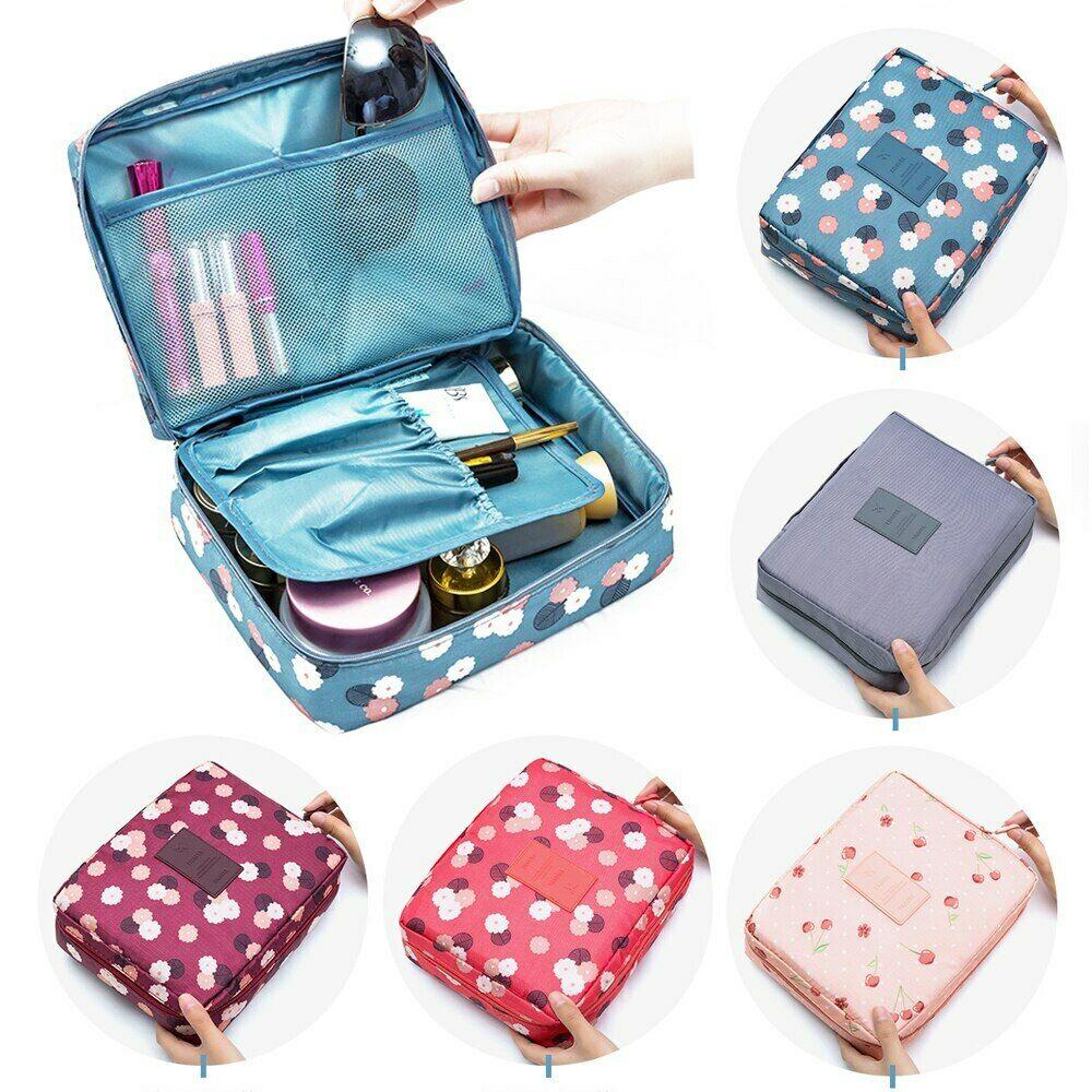 Bolsa de maquillaje para chica para exteriores, neceser para mujer, neceser de lavado, organizador de almacenamiento, Kit de viaje, bolsa con múltiples bolsillos (F)