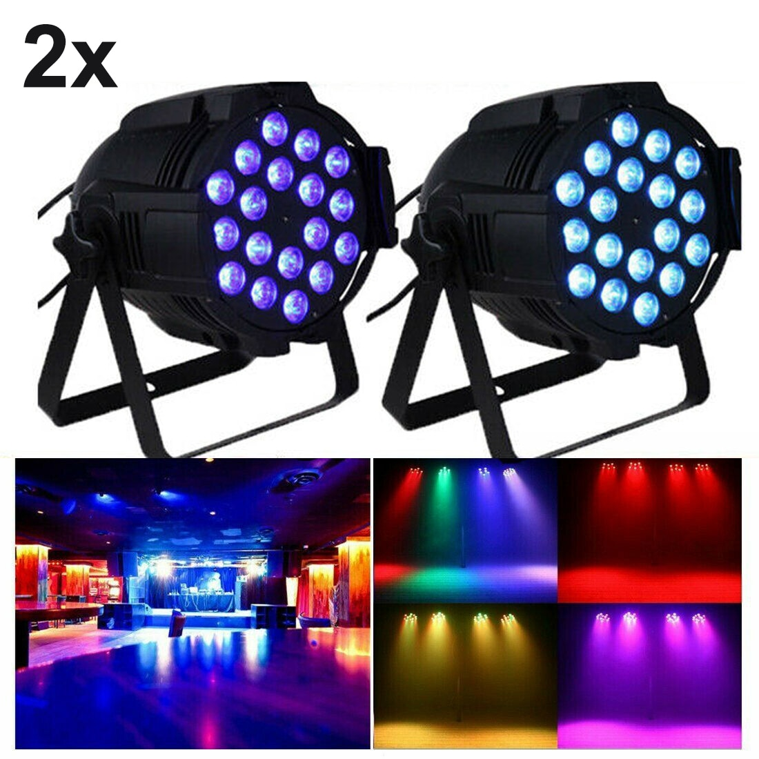 Honhill 2pcs 4 IN 1 PAR LED Light RGBW Stage Beam Lights DMX Party DJ Strobe Effect Party Show