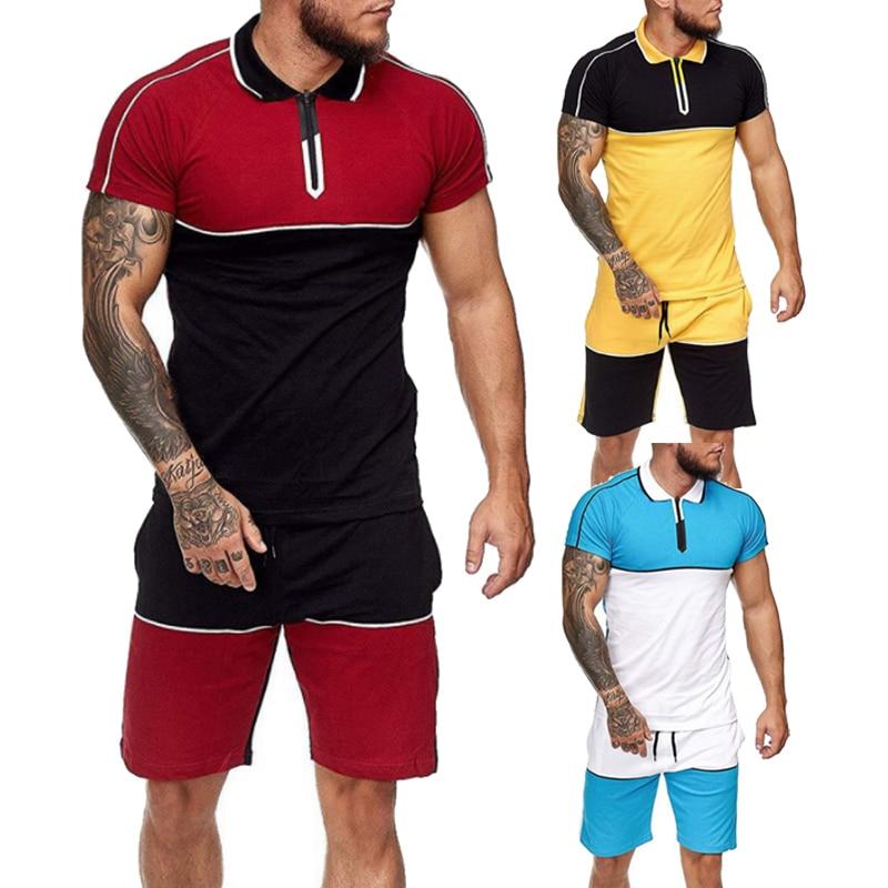 Мужских вещей, Мужская одежда, наряд из 2 вещей набор для бегунов Сращивание Корректирующие шорты комплект летней модной одежды для мужской ...
