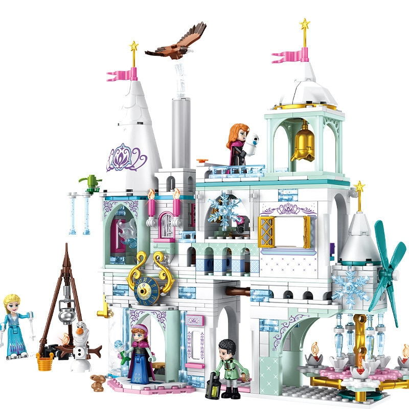 Elsa Anna Castillo de hielo mágico modelo de bloques de construcción Cenicienta princesas Castillo Compatible blockss amigos