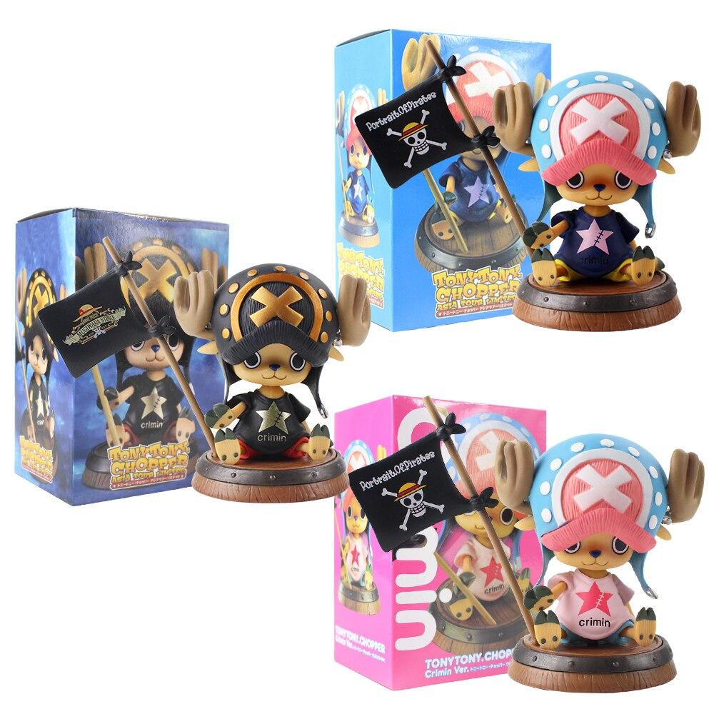 8cm Tonytony Chopper One Piece Toy Figura Com Bandeira Retrato de Chapéu de Palha Piratas Anime Bonecas Modelo