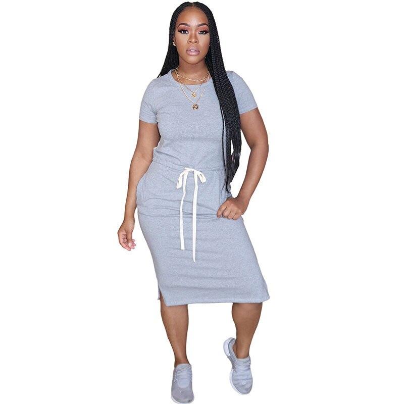 Vestido liso informal de verano para mujer, cuello redondo, manga corta, cordón en la cintura, vestido hasta la rodilla, bolsillos, ropa interior, vestidos de uso diario