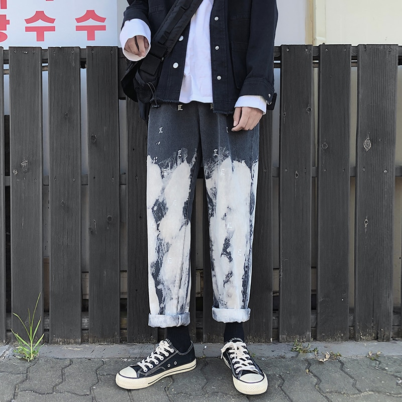 Camo Jeans Men Fashion Washed Vintage Tie Dye embroidery Casual Denim Pants Man Streetwear Hip Hop Loose Straight  S-2XL