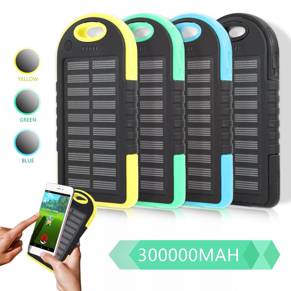 Dual USB Port Outdoor Camping LED Licht 300000mAh Solar Power Handy Power Bank Externe Batterie Ladegerät