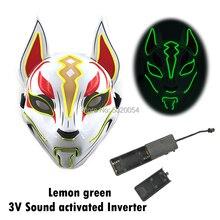 Хэллоуин вечерние маска светодиодный светильник маска с 3V звуковая активация контроллер для костюмированной вечеринки по японскому аниме ...