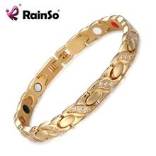RainSo acier inoxydable magnétique femmes Bracelets mode thérapie bijoux or lien chaîne avec Bio éléments Bracelet à breloques cadeau