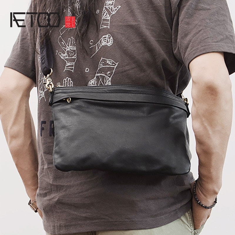 AETOO Soft leather shoulder bag, simple mobile phone bag, trendy casual messenger bag