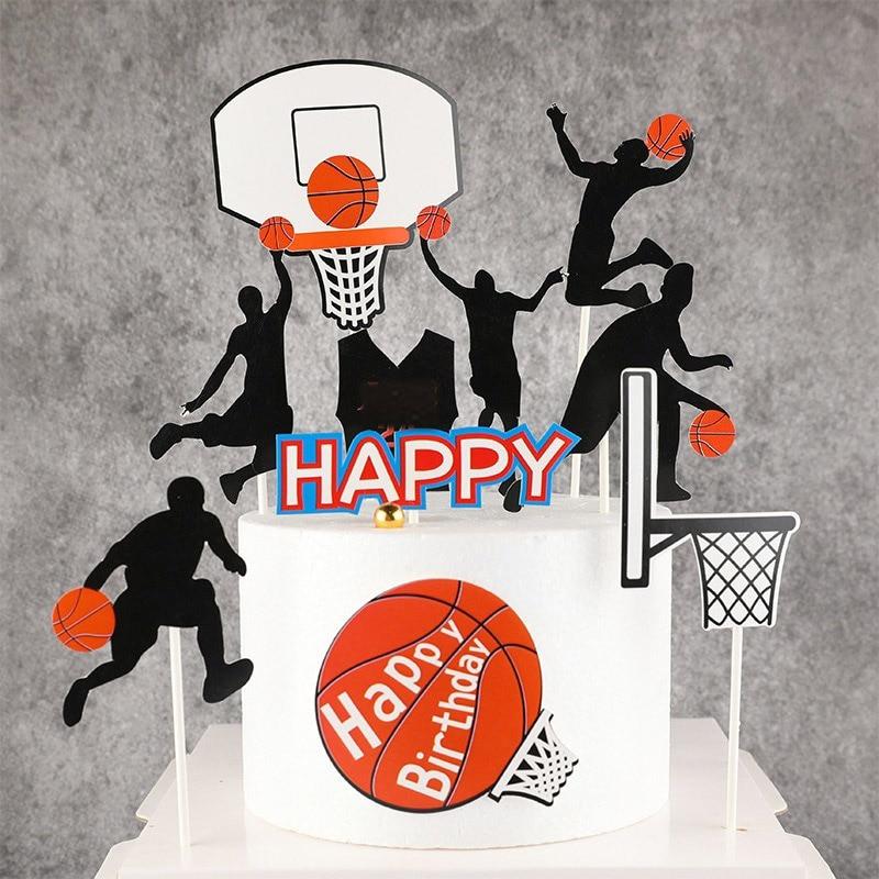 5 pçs decoração do bolo feliz aniversário bolo toppers basquete tema bolo de aniversário decoração material definido para npy bolo de aniversário