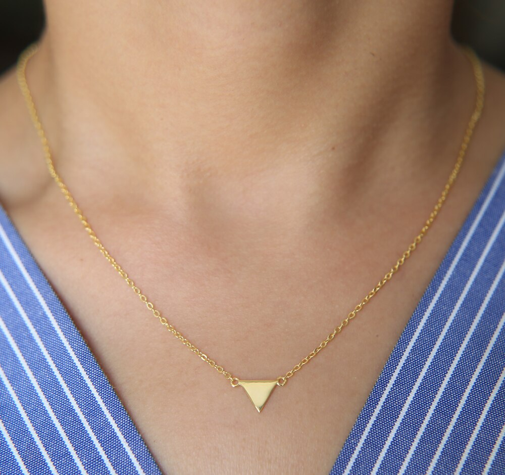 2018 joyería simple de plata pulida Plata Lisa pendiente geométrico triangular minimalista triángulo mujeres chica collar 925 Plata