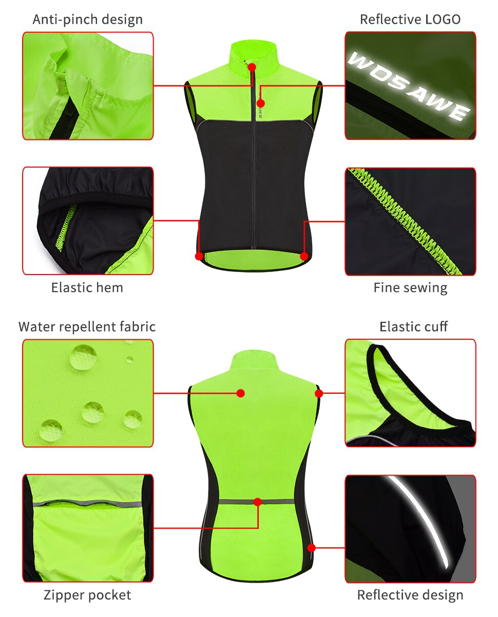 WOSAWE Dirt-proof Sleeveless Motorcycle Jacket Reflective Waterproof Windproof Road Racing Vest Gilet Windbreaker MTB Coat enlarge