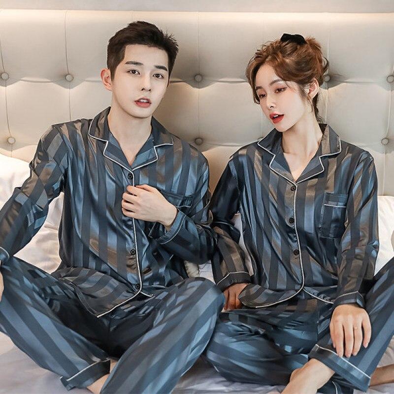 Роскошь пижама костюм атлас шелк пижамы комплекты пара одежда для сна пижама любовники ночь костюм мужчины 26% женщины повседневный дом одежда ночное белье