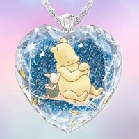 new cartoon winnie bear crystal pendant necklace crystal heart necklace mens and womens jewelry