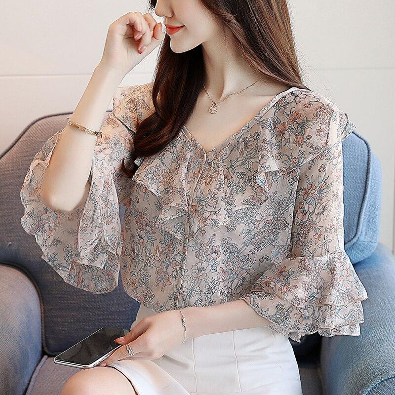 2020 summer dress new floral V-neck five-point sleeve chiffon shirt loose shirt female summer short sleeve
