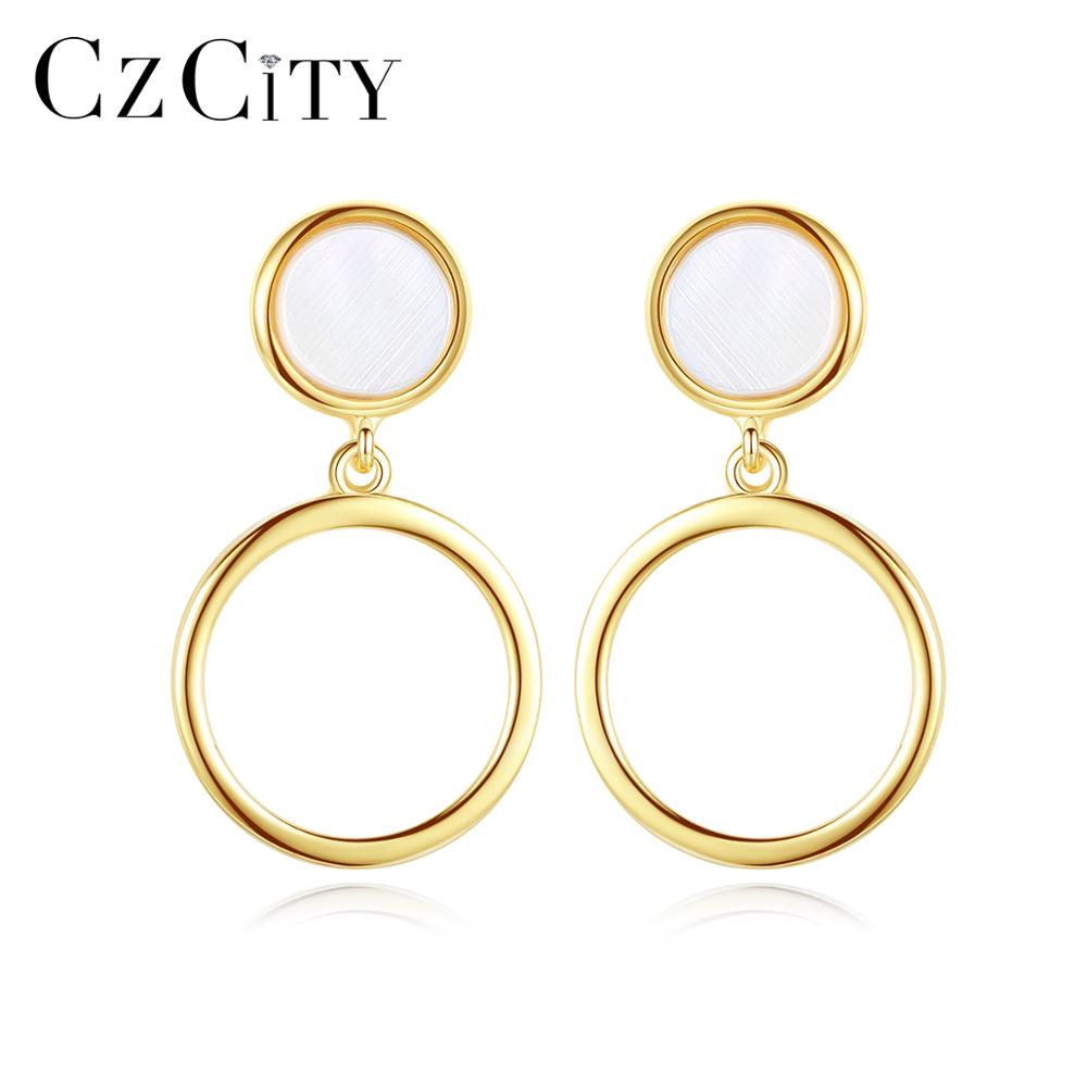 CZCITY Drop Earrings for Women Small Round Hoops 925 Sterling Silver Trendy Fine Jewelry Birthday Ch