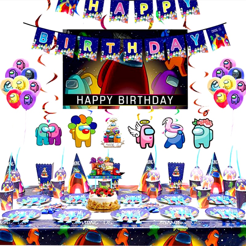 277pc/lot Among Us Theme Luxury Tableware Set Birthday Party Hats Balloon Plates Cups Decorate Boys Favors Stickers Cake Toppers