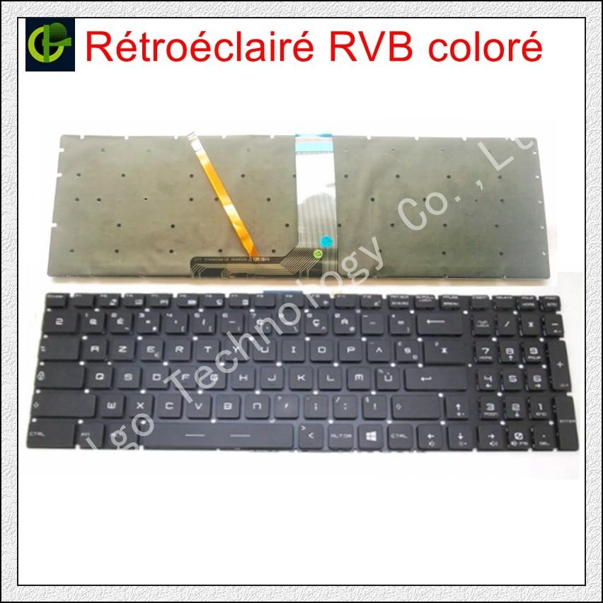 الفرنسية Azerty RGB ملونة الخلفية لوحة المفاتيح ل MSI GT62 GT72 GE62 GE72 GS60 GS70 GL62 GL72 GP62 GT72S CX62 GL63 GL73 GS72V الاب