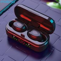 Наушники-вкладыши TWS с микрофоном и зарядным футляром, беспроводная водонепроницаемая гарнитура с поддержкой Bluetooth 9D, басы