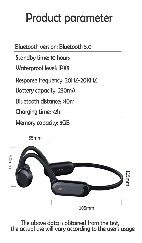 Bone conduction Bluetooth headsetgcd01 ear-mounted IPX8 waterproof grade Bluetooth 4.0 sports headset 8G memory enlarge