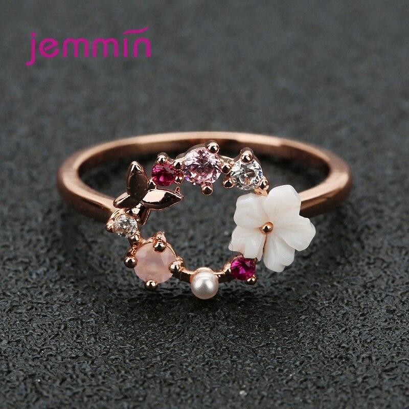 Delicados anillos de Color dorado con forma de rosa para mujer, anillo con diseño de hojas de cristal y flores, regalo de joyería para chicas