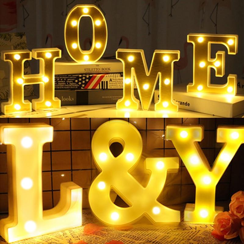 DIY 3D letra luz LED luces de noche 26 marquesina inglesa signo alfabeto noche lámpara atmósfera hogar Decoración de cumpleaños bodas Luz