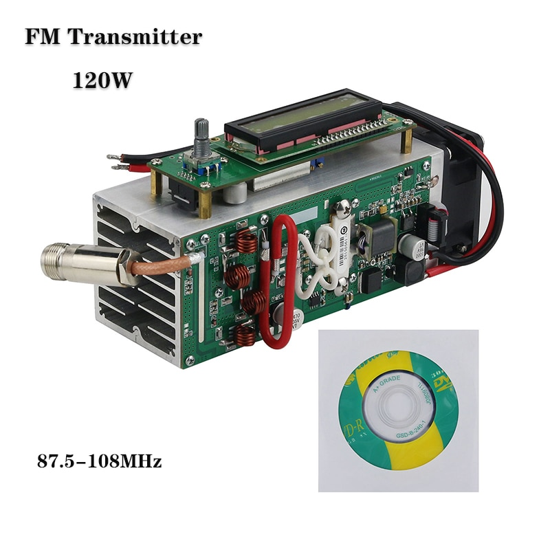 Wishcolor 120 واط قابل للتعديل 87.5-108 ميجا هرتز FM جهاز إرسال لاسلكي محطة هام حماية كاملة دعم التصميم بطاقة SD MP3 عالية الدقة