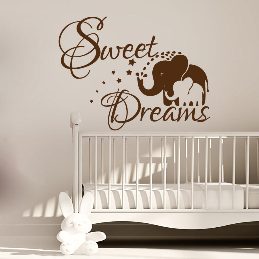 Sweet Dream Elephant Mom And Her Baby Wall Sticker PVC Vinyl Art Kids Bedroom Wall Decor Decals Murals Decoration  - buy with discount
